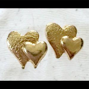Vintage Gold Heart Stud Earrings